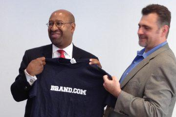 Philadelphia Mayor Michael Nutter with Brand.com President Michael Zammuto. (Zack Seward/WHYY)
