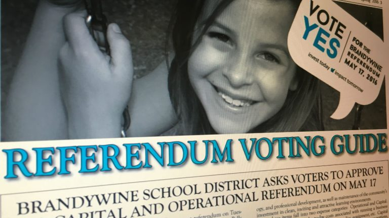 Brandywine School District leaders encouraged residents to support the referendum through hand outs like this one featured on the district website. (photo via BrandywineSchools.org)