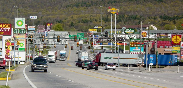Breezewood is one of the original exits on the Pennsylvania Turnpike. It's known as the