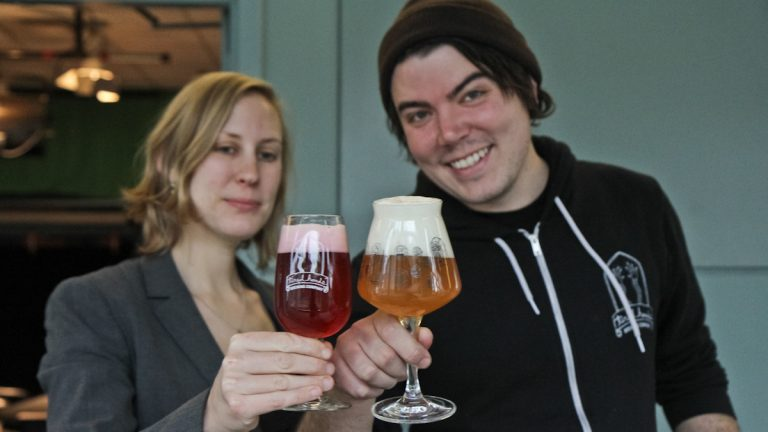 Julie Foster and Jean Broillet offer ideas on the best holiday brews. (Kimberly Paynter/WHYY)