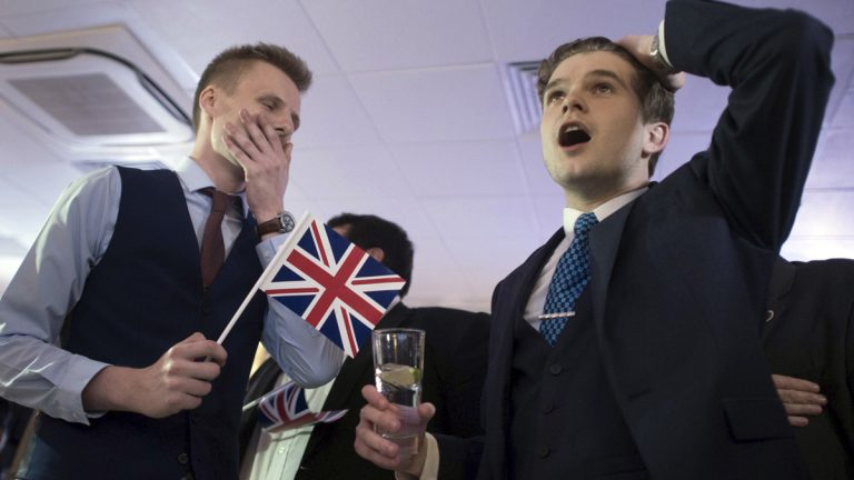 Supporters of leaving the E.U. celebrate at a party hosted by the Leave campaign in central London. (Stefan Rousseau/PA Wire)
