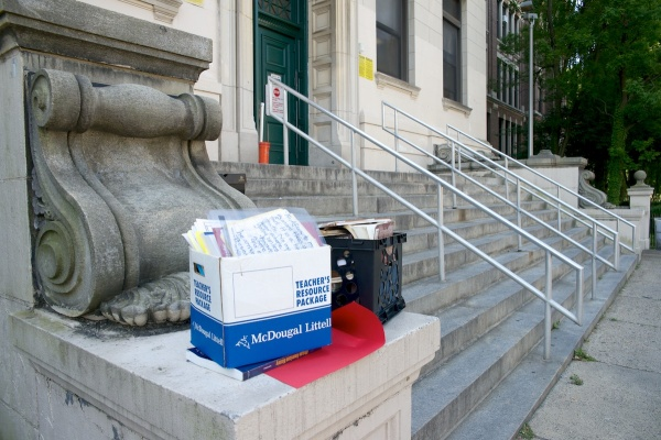 A stack of boxes outside Germantown High on the last day of school. (Bas Slabbers/for NewsWorks, file)