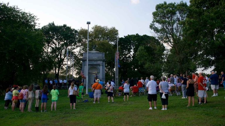 Residents gather at the monument in Sept. 2013 for a 9/11 memorial service. (Bas Slabbers/for NewsWorks, file)