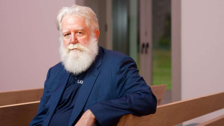 Artist James Turrell in the meeting room of the Chestnut Hill Friends Meeting House. (Bas Slabbers/for NewsWorks)