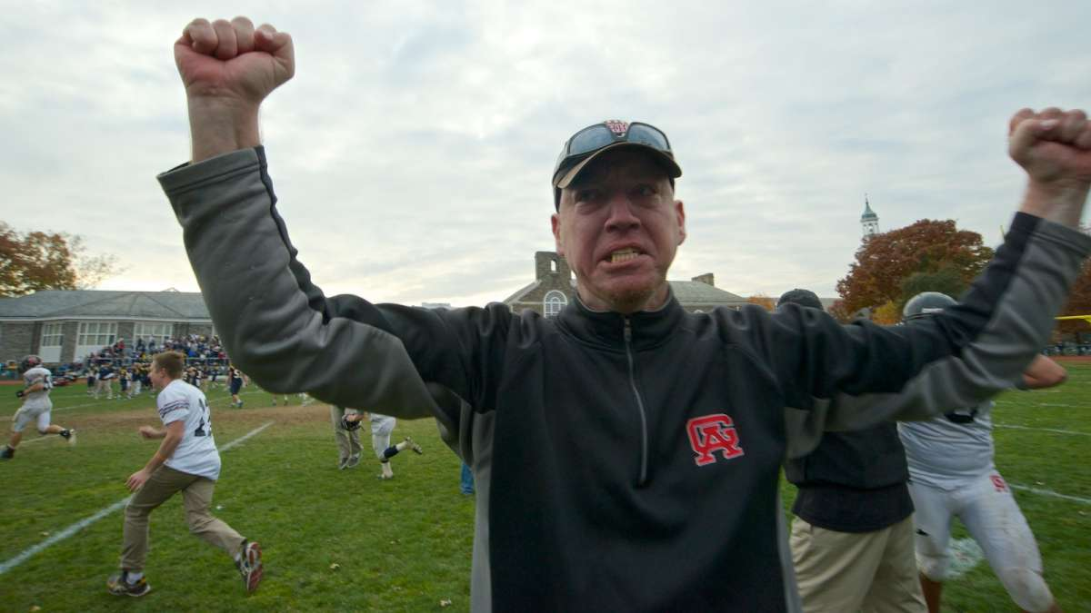 Germantown Academy celebrates a thrilling football victory vs. Penn Charter. (Bas Slabbers/for NewsWorks)
