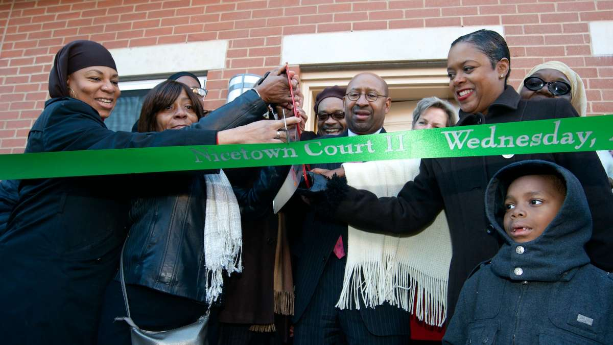 The Nicetown Court II affordable-housing ribbon was cut on Wednesday afternoon. (Bas Slabbers/for NewsWorks)