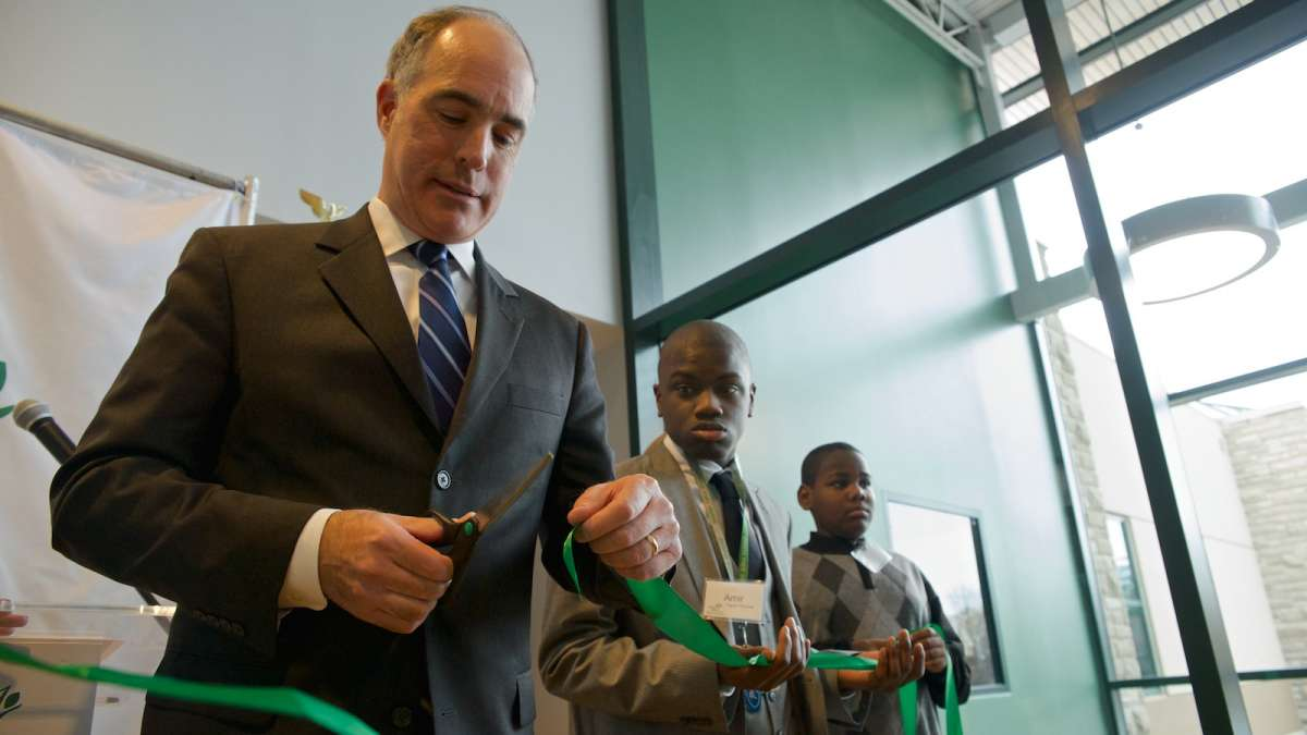 U.S. Sen. Bob Casey was on hand for Friday's ribbon-cutting ceremony at Green Tree School & Services on Washington Lane. (Bas Slabbers/for NewsWorks)