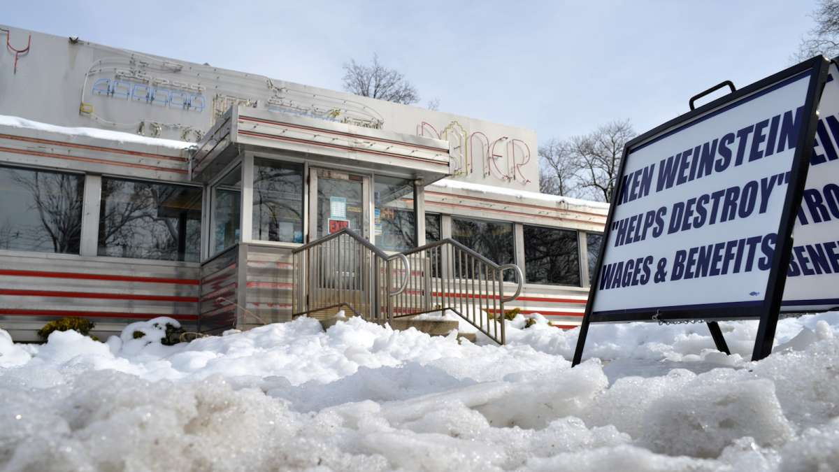 A sign outside the Trolley Car Diner in Mt. Airy. (Bas Slabbers/for NewsWorks)