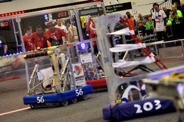 A scene from last year's FIRST Robotics Competition at SCH Academy in Chestnut Hill. (Bas Slabbers/for NewsWorks, file)