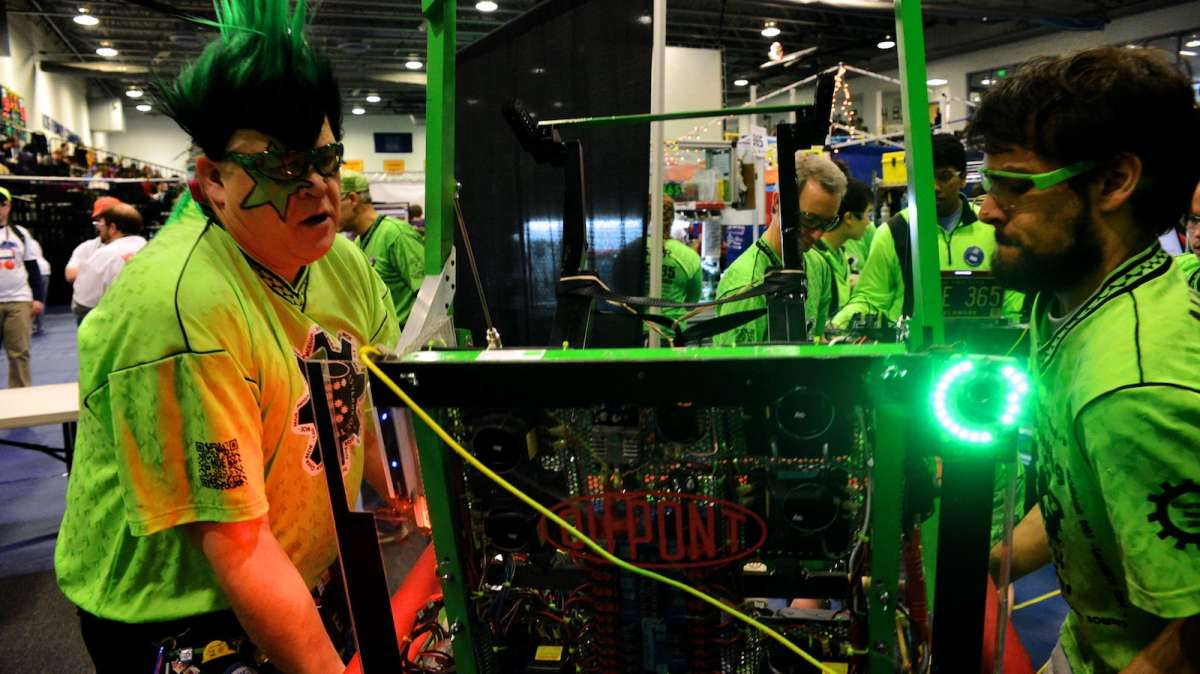 The Miracle Workerz from Delaware are seen here preparing their robot 'EliMOEnator'. (Bas Slabbers/for NewsWorks)