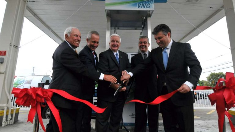 On Tuesday, Gov. Tom Corbett attended the opening of the city's first public natural gas vehicle (NGV) fueling facility at Fox Street and Abbotsford Avenue. (Bas Slabbers/for NewsWorks)