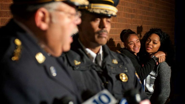 Expressions of relief at a press conference Wednesday night announcing that Carlesha Freeland-Gaither had been found alive and well. (Bas Slabbers/for NewsWorks)