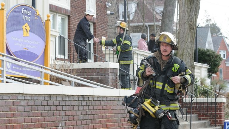 Fire fighters were able to extinguish the fire by 10:28 a.m. (Bas Slabbers/for NewsWorks)