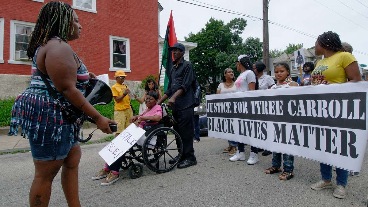 A scene from a rally organized by supporters of Tyree Carroll over the weekend in Germantown. (Bas Slabbers/for NewsWorks)