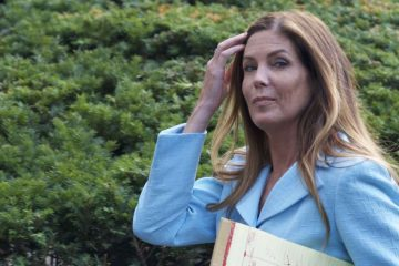 A.G. Kathleen Kane leaves Montgomery County Court House after the jury is selected during a long first day of her criminal trial. (Bastiaan Slabbers for NewsWorks)