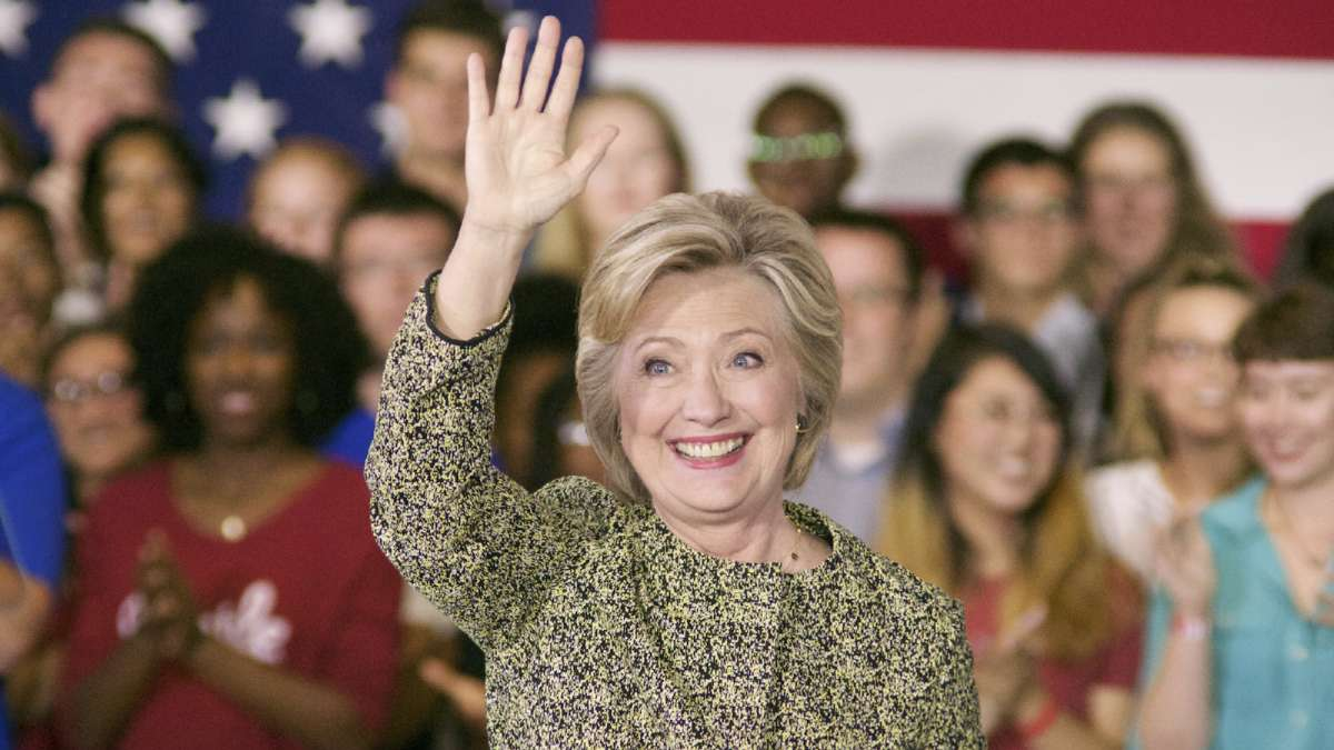 Hillary Clinton waves to supporters at Temple University. (Bas Slabbers/NewsWorks)