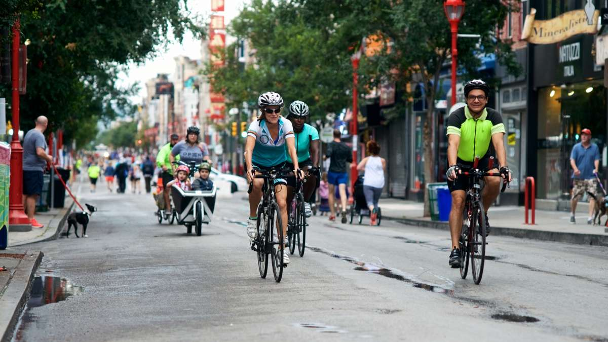 South Street from the Delaware River to the Schuylkill River was closed to motorized vehicles for five hours Saturday for Philadelphia's first Free Streets day.