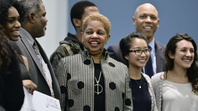 Joyce S. Wilkerson (center) is welcomed as new chairperson for the School Reform Commission at the Nov. 15