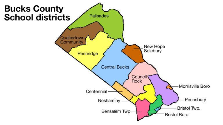 Bucks County school district borders (Eric Walter/WHYY)