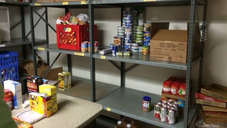 Supplies are dwindling on the shelves of a food pantry in Penndel. (Bucks County Housing Group)