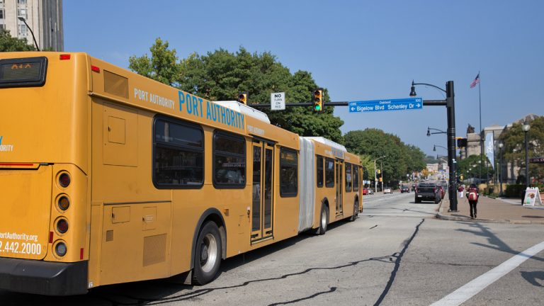 A Port Authority of Allegheny County bus in Pittsburgh. (Lindsay Lazarski/WHYY)