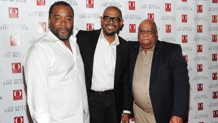 Left to right, director Lee Daniels, actor Forest Whitaker, and Charles Allen, the son of Eugene Allen, at a screening of