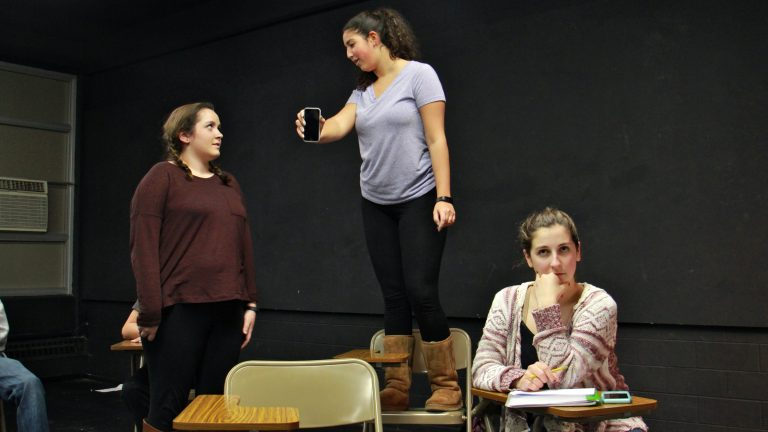 Young actors rehearse for the play