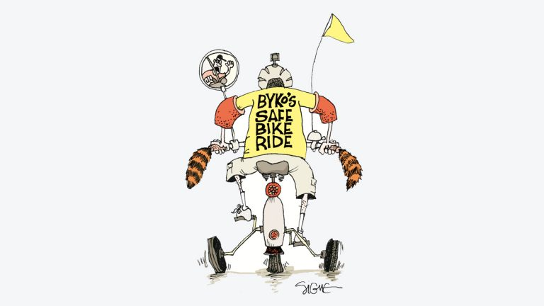 The Byko Ride pairs unexpected allies looking to help the People's Emergency Center. (Signe Wilkinson)