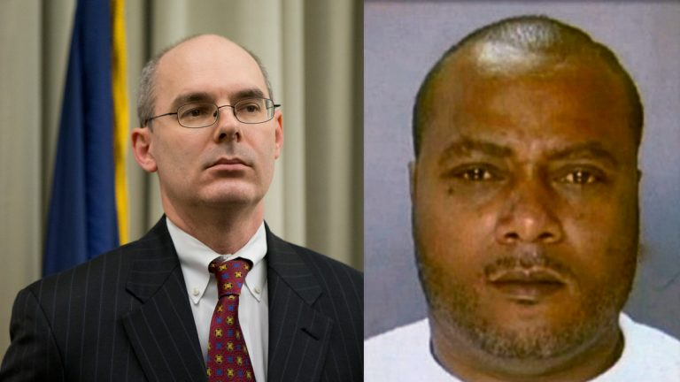 Frank Fina, a Philadelphia prosecutor involved in the 'porngate' scandal (left) and convicted contractor Griffin Campbell. (Matt Rourke/AP Photo and Image courtesy of Philadelphia Police)