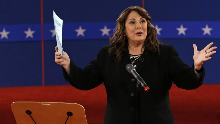 Moderator Candy Crowley is shown talking to the audience before a presidential debate at Hofstra University on Tuesday