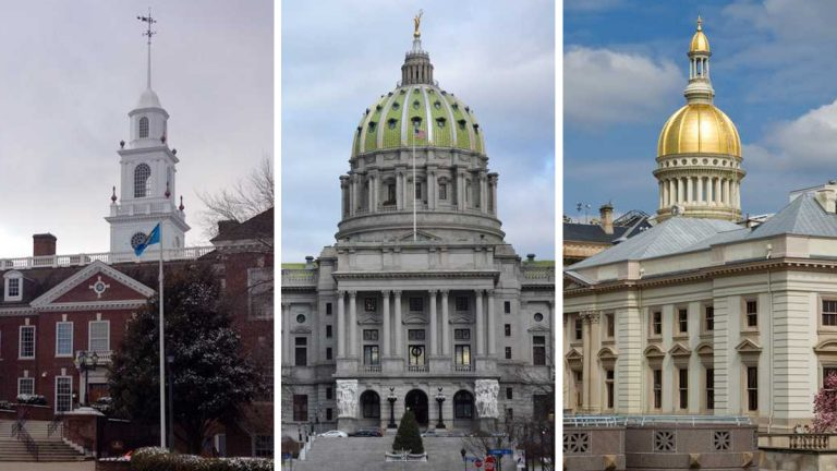 From left: Delaware Capitol in Dover (Shana O'Malley/WHYY); Pennsylvania Capitol in Harrisburg (Kevin McCorry/WHYY); New Jersey Capitol in Trenton (NewsWorks file photo)