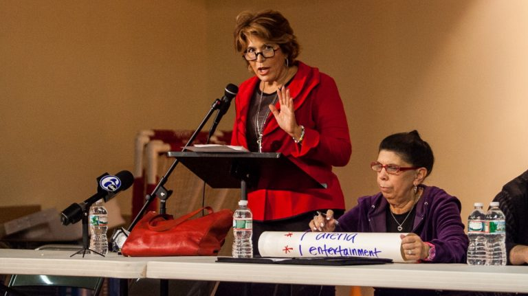 Realtor and civic activist Barbara Capozzi speaks at a South Philly meeting in 2014.(Brad Larrison/for NewsWorks)