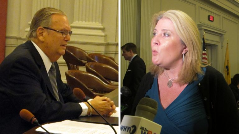 Left: New Jersey Assemblyman Ralph Caputo urges approval of the amendment to allow two casinos in North Jersey.  Right: Assemblywoman Holly Schepisi questions the need for quick action on the amendments. (Phil Gregory/for NewsWorks)