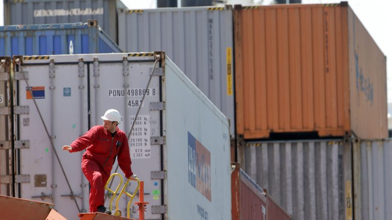 Cargo containers are docked at Packer Avenue Marine Terminal, in Philadelphia. Pennsylvania sees about 4.9 percent (calculated by value) of all goods pass through its shipping centers. (AP File Photo/Matt Rourke)