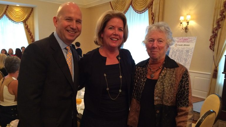 (From L) Gov. Jack Markell, First Lady Carla Markell and June Peterson. Carla Markell was awarded the Fund for Women's 2015 First Founders Award (Shirley Min/WHYY)
