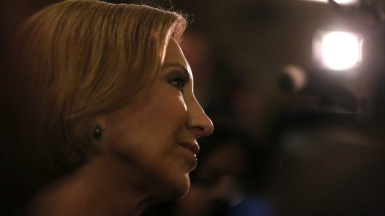 Carly Fiorina, former Chief Executive Officer of Hewlett-Packard speaks to the Restore America rally in Louisville, Ky., Wednesday, Oct. 29, 2014. (Timothy D. Easley/AP Photo)