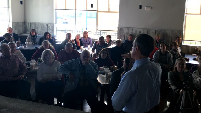 Gov.-elect John Carney answers questions from voters Thursday at a Georgetown restaurant. (Mark Eichmann/WHYY)