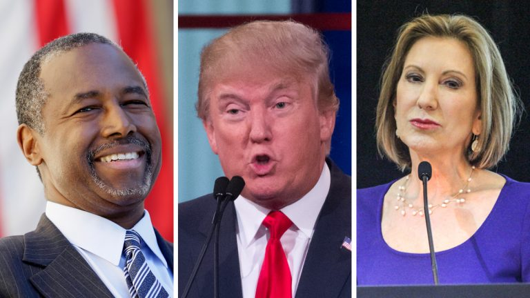 Republican presidential candidates, from left:  Dr. Ben Carson (AP Photo/Charlie Neibergall); Donald Trump (AP Photo/John Minchillo); Carly Fiorina (Kimberly Paynter/WHYY))