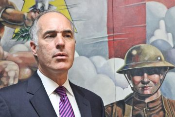 U.S. Sen. Bob Casey attends a press conference on health care services at U.S. Department of Veterans Affairs facilities at the Veterans Multi-Service Center in Philadelphia in  2014. (Kimberly Paynter/WHYY)