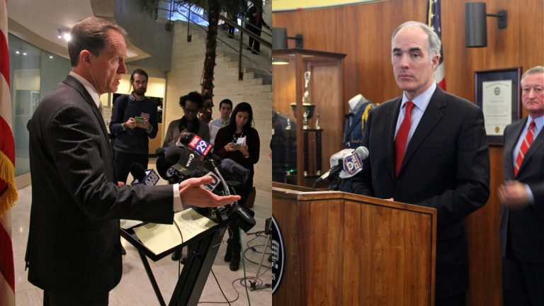United States Sens. Pat Toomey (left) and Bob Casey hold separate news conferences in Philadelphia Thursday after an FBI briefing on the investigation into the shooting of Police Officer Jesse Hartnett. (Emma Lee/WHYY)