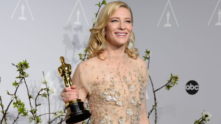Cate Blanchett is shown with the award for best actress in a leading role for