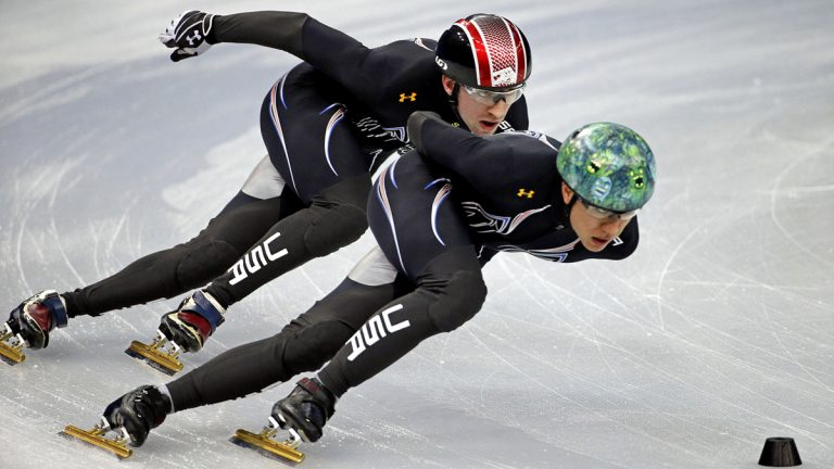United States short track speed skating teammates Christopher Creveling, left, and J.r. Celski run through a training session at the Iceberg Skating Palace at the 2014 Winter Olympics in Sochi, Russia. (AP Photo/David Goldman)