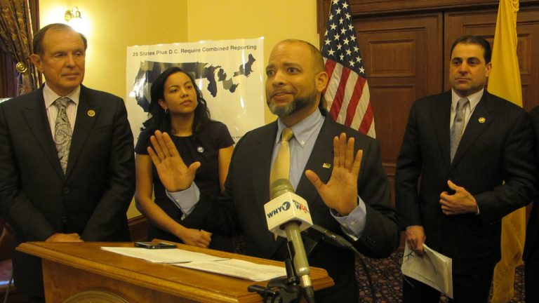 Erick Cedano says the bill to close a loophole allowing large companies to dodge New Jersey's corporate income tax would provide tax fairness. (Phil Gregory/WHYY)