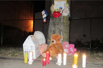 A memorial honoring Ceeanna Pate sits at the corner of Clarissa and Brunner streets in Nicetown during a recent vigil in her memory. (Brian Hickey/WHYY)