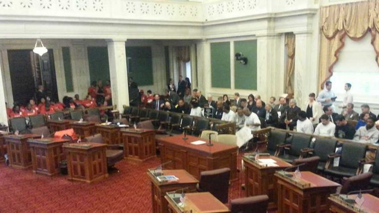 Those for and against Tax Increment Financing for a new hotel turned out in force at Philadelphia City Council.  (Tom MacDonald/WHYY)