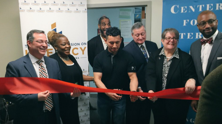 Omar Diaz and Mayor Kenney cut the official ribbon making the Center for Literacy on 4th and Market Streets a myPLACE campus! (Image via Center for Literacy Facebook)