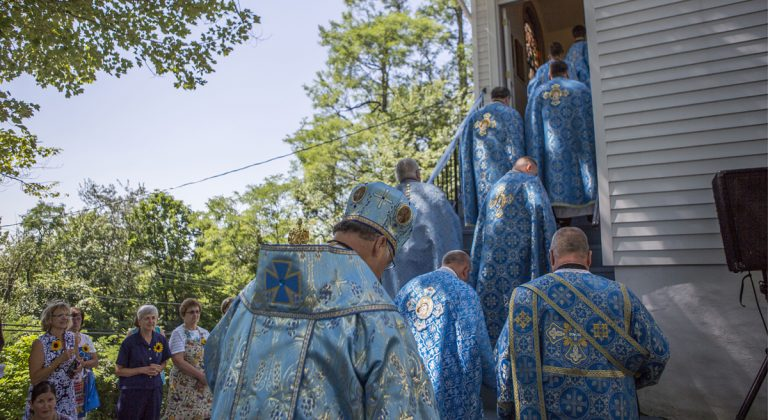 Priest enter the Assumption of the Blessed Virgin Mary Ukrainian Catholic Church during a holy pilgrimage to Centralia