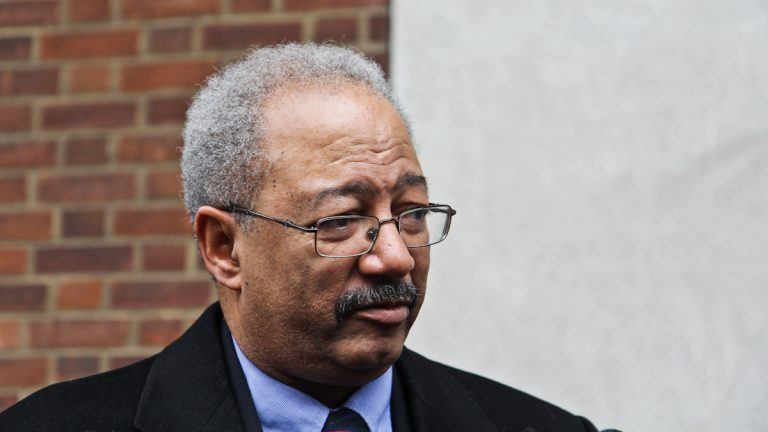 Congressman Chaka Fattah answers questions outside the Federal Courthouse. (Kimberly Paynter/WHYY