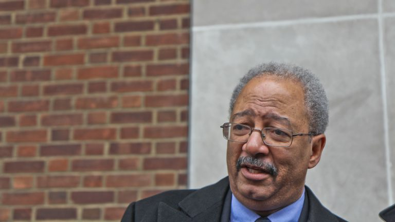 U.S. Rep. Chakka Fattah answers questions outside the federal courthouse Tuesday. (Kimberly Paynter/WHYY)