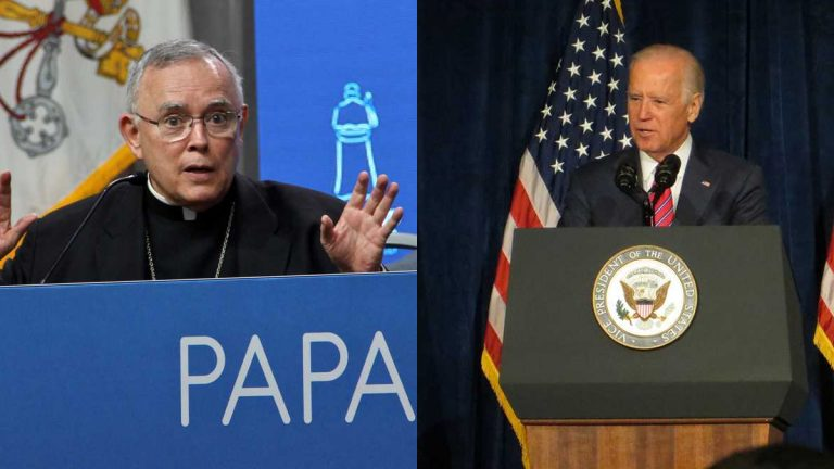 Philadelphia Archbishop Charles Chaput and Vice President Joe Biden. (NewsWorks file photos)